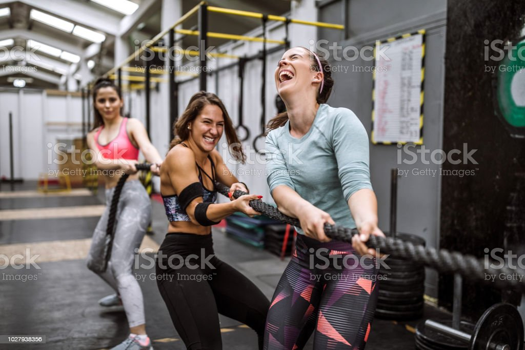 Battle Rope Workout On Cross Training stock photo