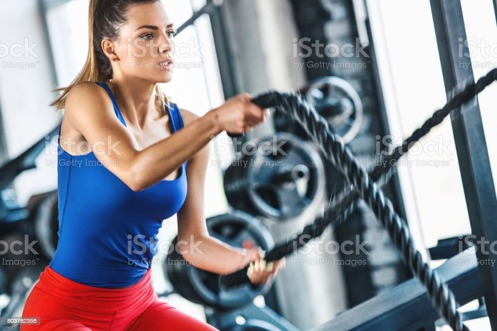 Battle rope workout. stock photo