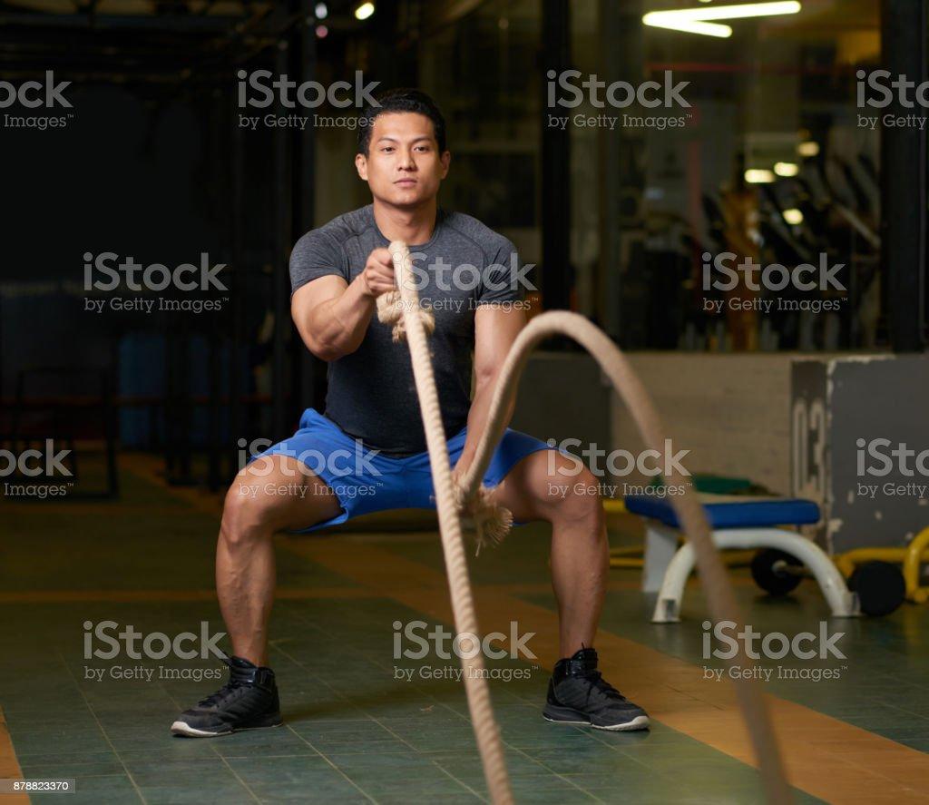 Battle ropes session stock photo