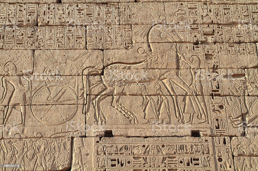 Battle scene, Medinet Habu, Theban Necropolis, Luxor, Egypt stock photo