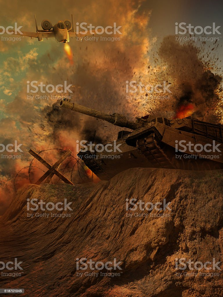 Battle scenery with a tank and an airplane stock photo