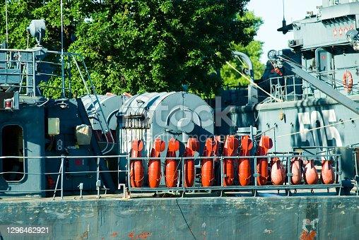 Battle ships docked on pier in Baltiysk. Russia