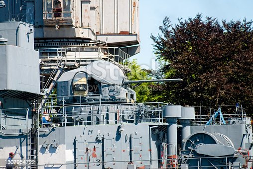 Baltiysk, Russia - June 29, 2010: Battle ships docked on pier