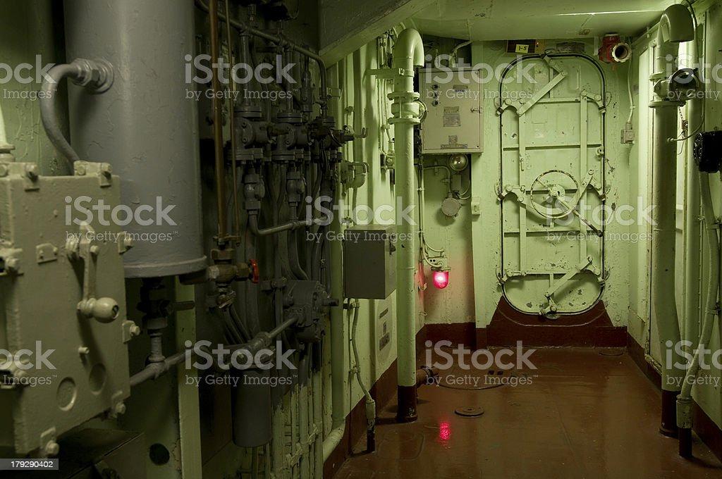 Battle ship sub interior stock photo