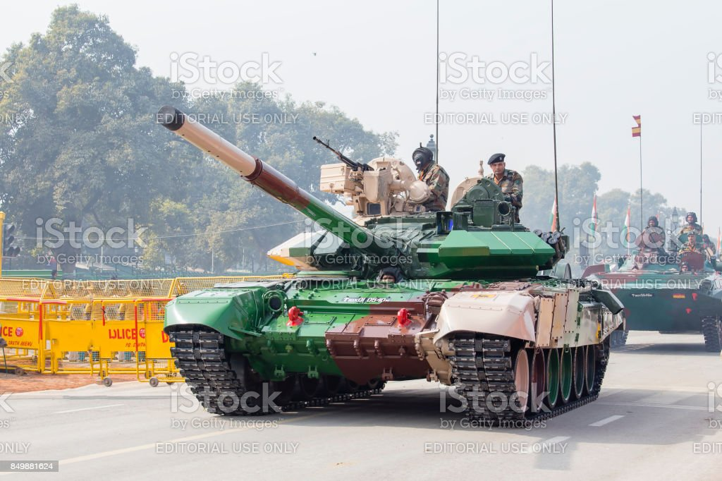 Battle Tank and military men take part in rehearsal activities for the upcoming India Republic Day parade. New Delhi, India stock photo