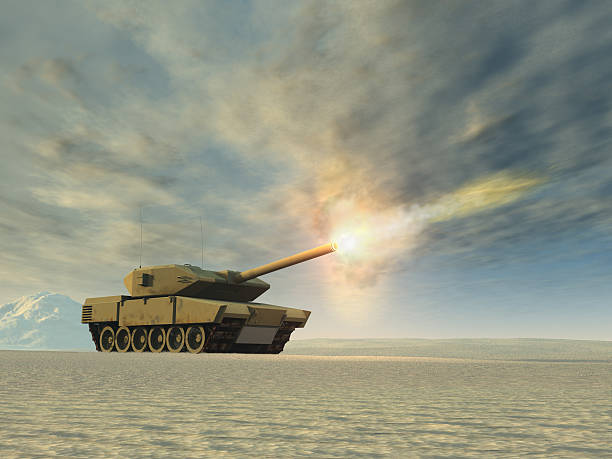 Battle tank firing stock photo