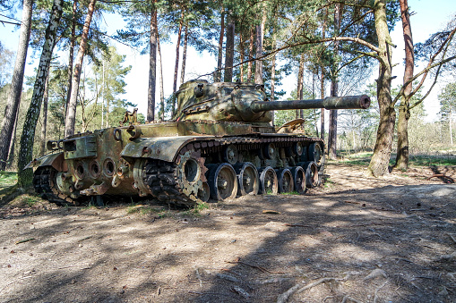 Battle tank in moor