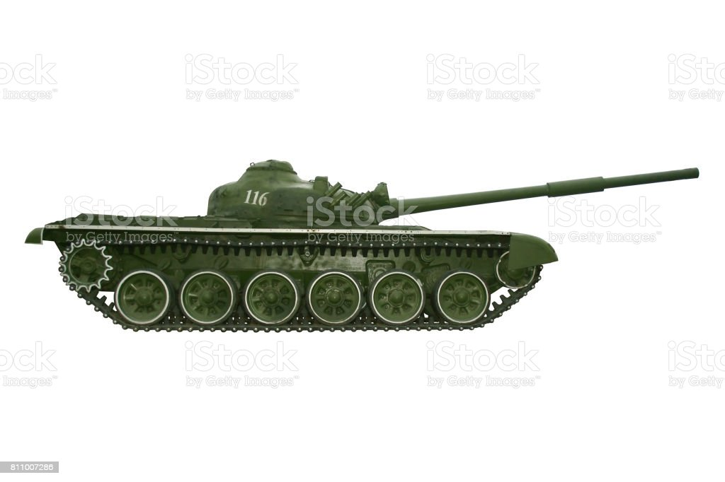 Battle tank on a white stock photo