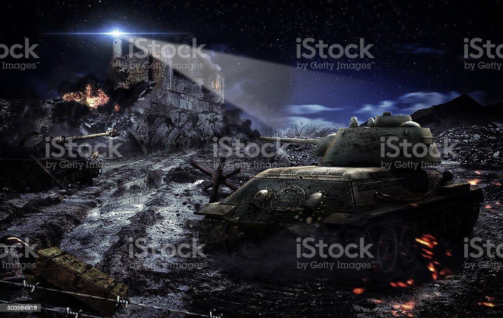 Battle tank scene bildbanksfoto