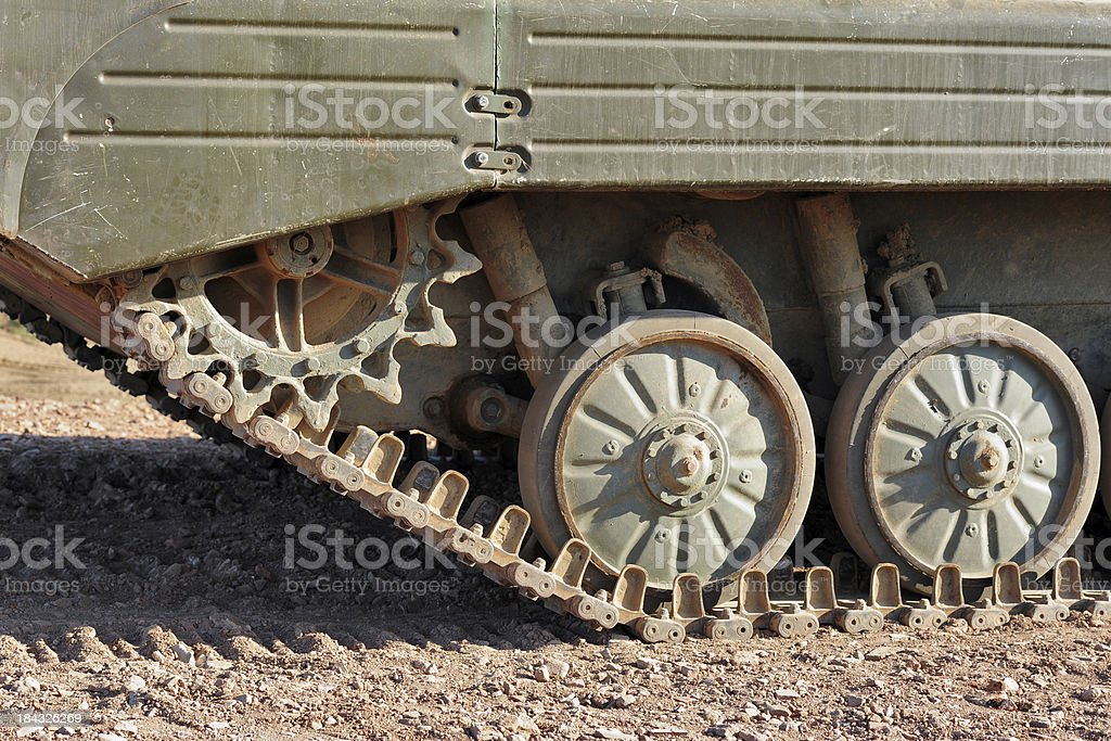 battle tank wheels and chain stock photo