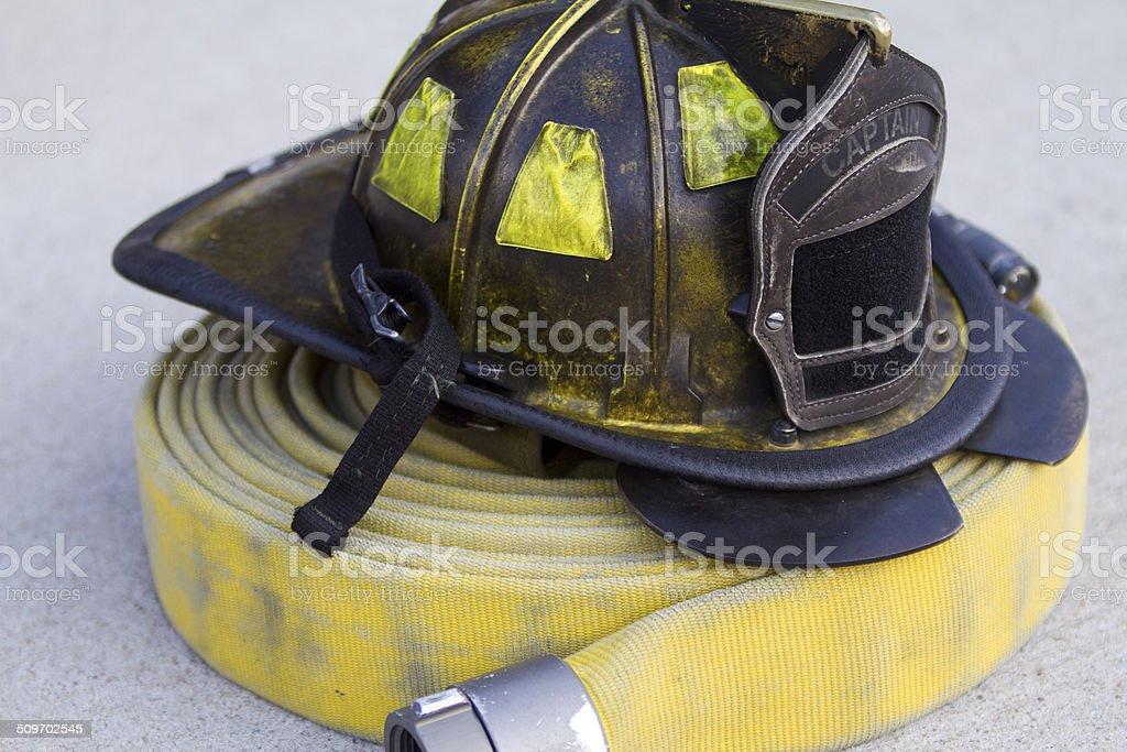 Battle Tested Fireman's Helmet stock photo
