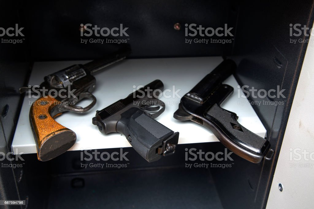 Battle weapons in the closet stock photo