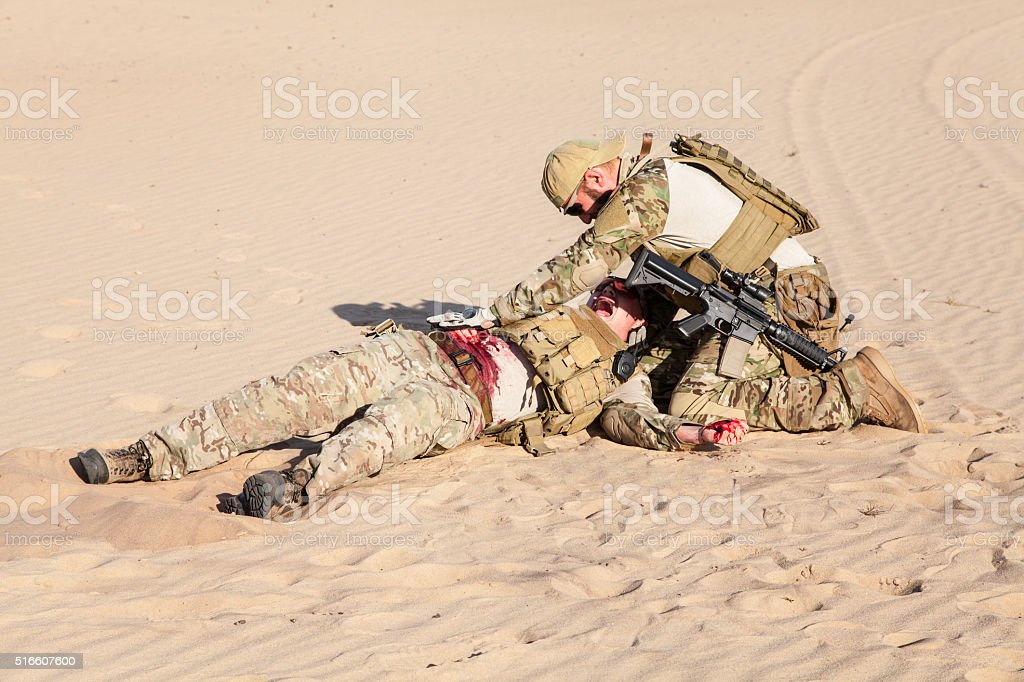Battlefield medicine in the desert stock photo