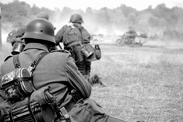 WW2 Battlefield.  trooper stock pictures, royalty-free photos & images