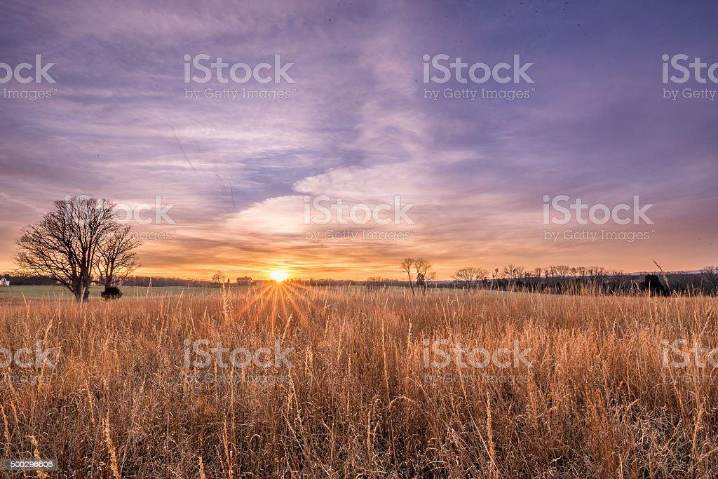 Battlefield Sunset stock photo