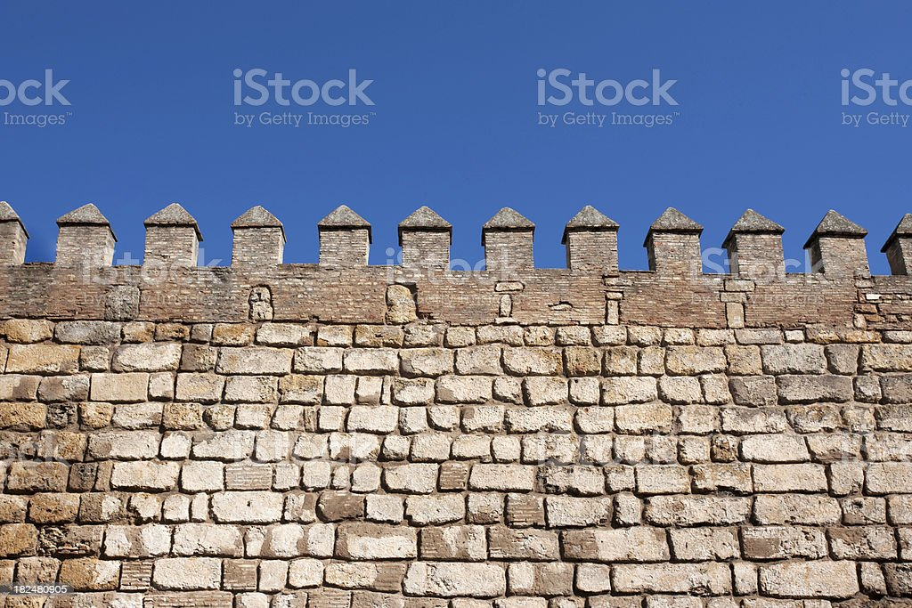 Battlements of the Alcazar Palace royalty-free stock photo