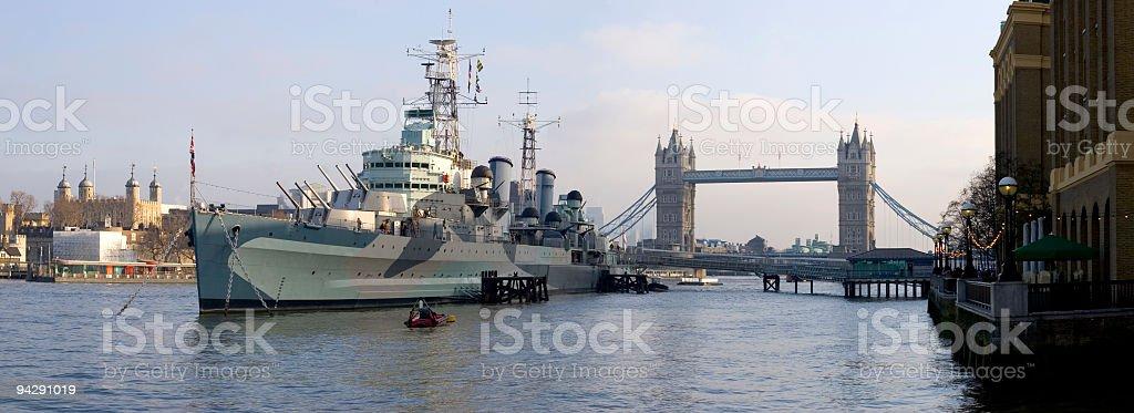 Battleship and London landmarks royalty-free stock photo