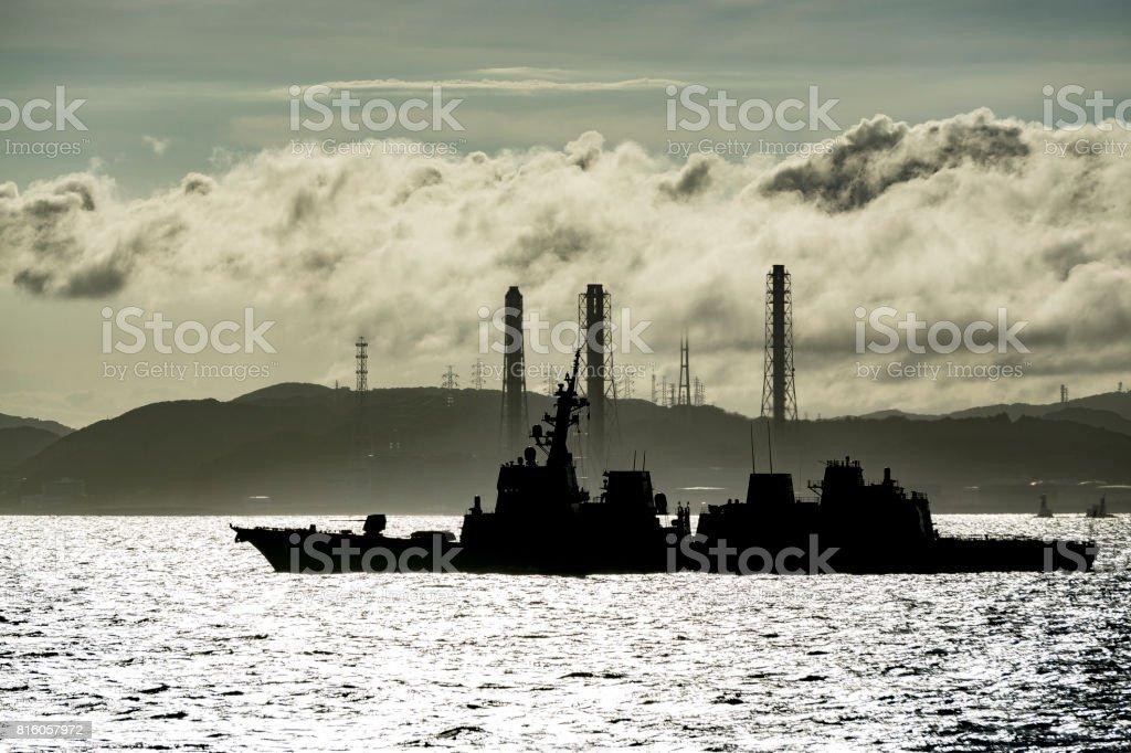 Battleship at Uraga Channel in Japan stock photo