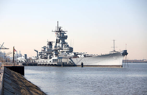 USSNJ Battleship Camden Side stock photo