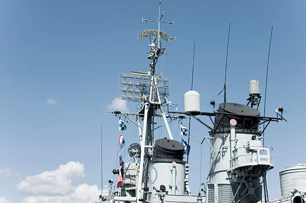 Battleship control tower stock photo