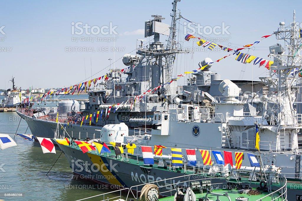 Odesa, Ukraine - July 10, 2016: Battleship HETMAN SAHAYDACHNY docked stock photo