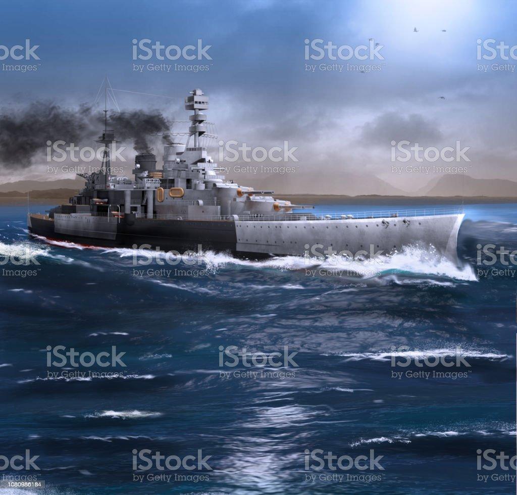 Battleship HMS Repulse steaming through the Ocean stock photo