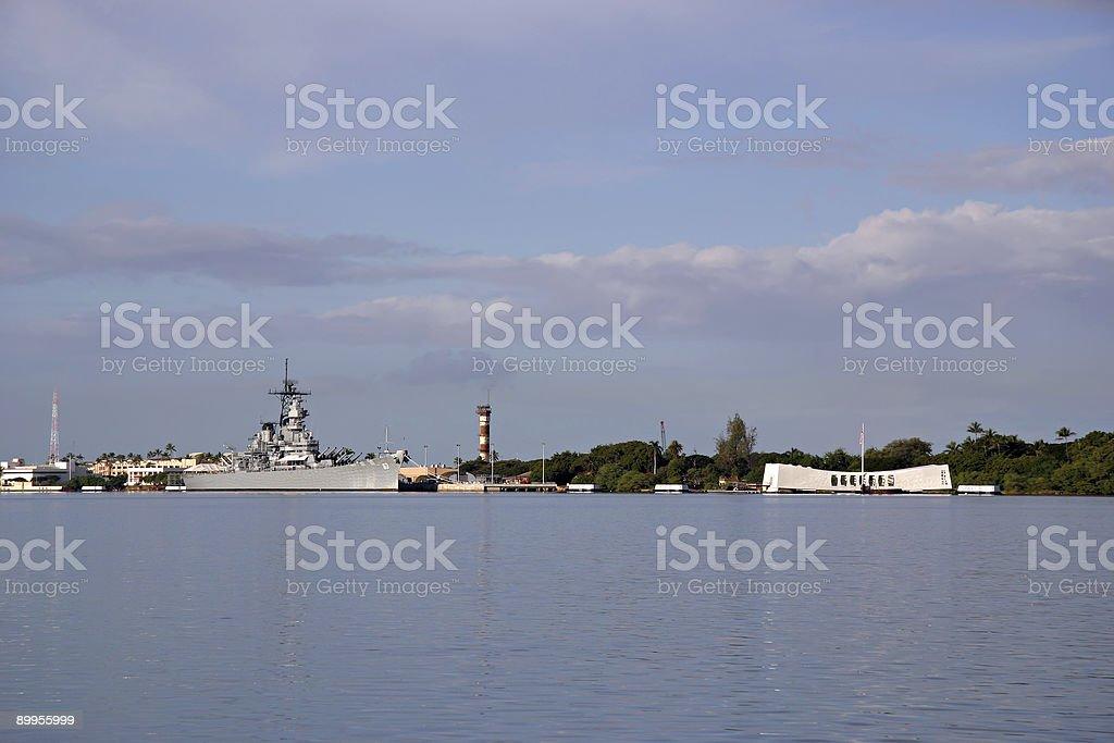 Battleship Missouri and Arizona Memorials - Pearl Harbor royalty-free stock photo