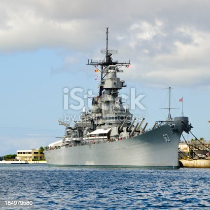 Battleship Missouri located in Pearl Harbor, Hawaii. An Iowa class battleship which is perhaps most famous for hosting the signing ceremony for the Japanese surrender in September 1945, today it is a museum ship in Pearl Harbor.
