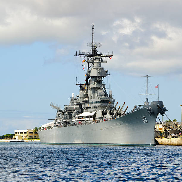 U.S.S. Missouri battleship in Pearl Harbor stock photo