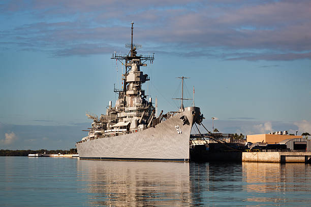 Battleship U.S.S. Missouri in Pearl Harbor, Honolulu, Hawaii Honolulu Oahu, Hawaii, USA - Jan 10, 2015: The battleship U.S.S. Missouri moored in Pearl Harbor naval base, the headquarters of the United States Pacific Fleet. Also a popular tourist destination on the island of Oahu. naval base stock pictures, royalty-free photos & images