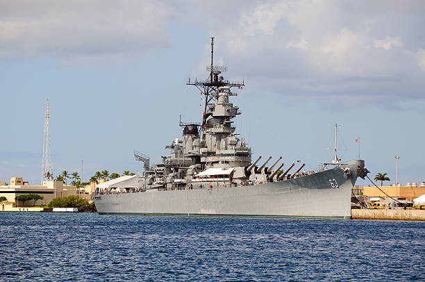 Battleship USS Missouri in Pearl Harbor stock photo