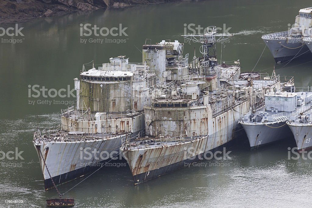 Battleship wrecks royalty-free stock photo