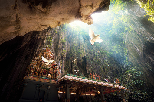 istock Batu Cave temple within cave and bird fly under light from the top 930718610