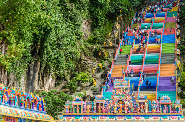 Batu Caves is a limestone hill that has a series of caves and cave temples in Gombak,Malaysia. stock photo