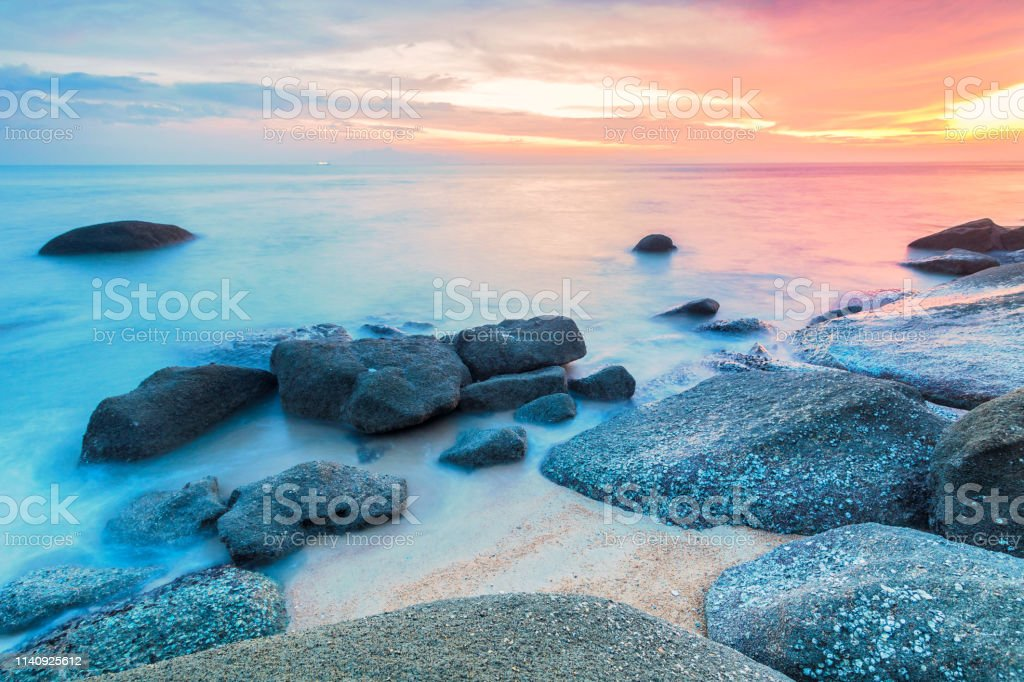 Batu ferringhi of George Town Penang sunrise or sunset view by the shore stock photo