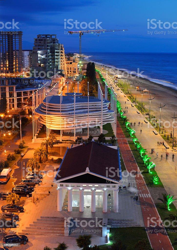 Batumi at night stock photo