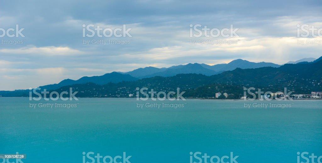 Batumi bay and Caucasus mountains, Black Sea harbour stock photo