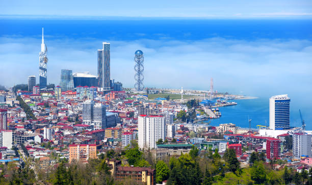 Batumi city, Georgia, view of the skyline in the morning haze stock photo