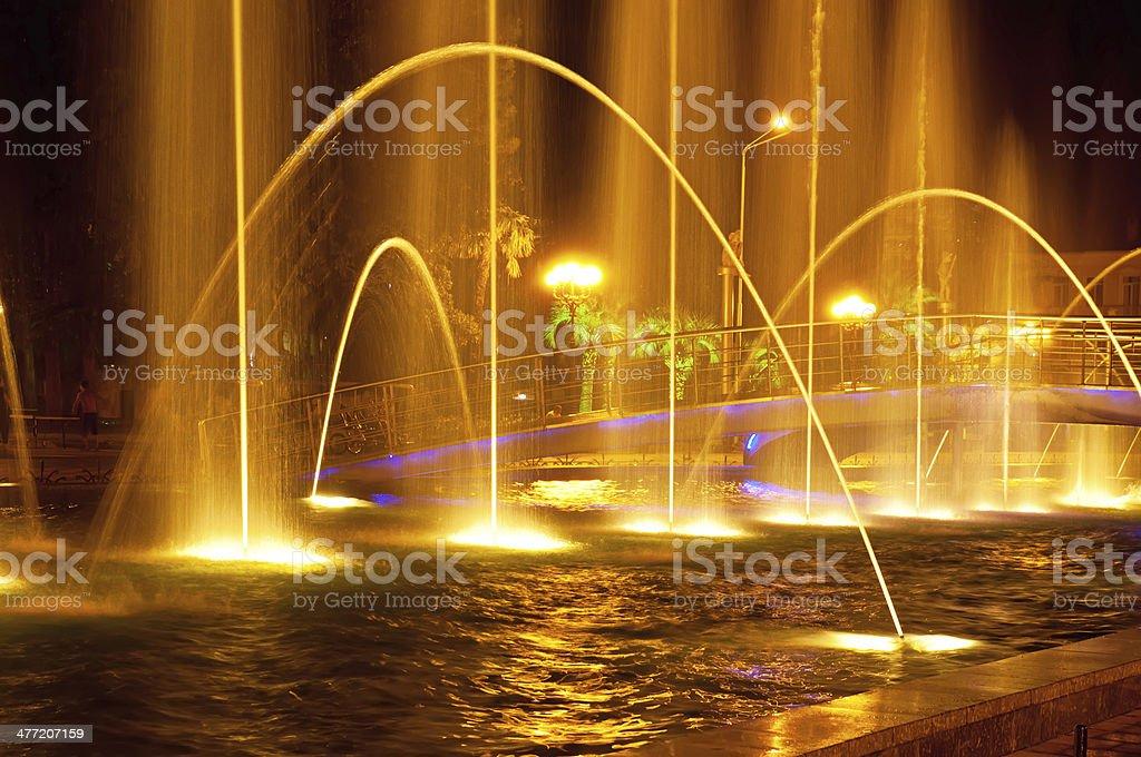 Batumi fountain show stock photo
