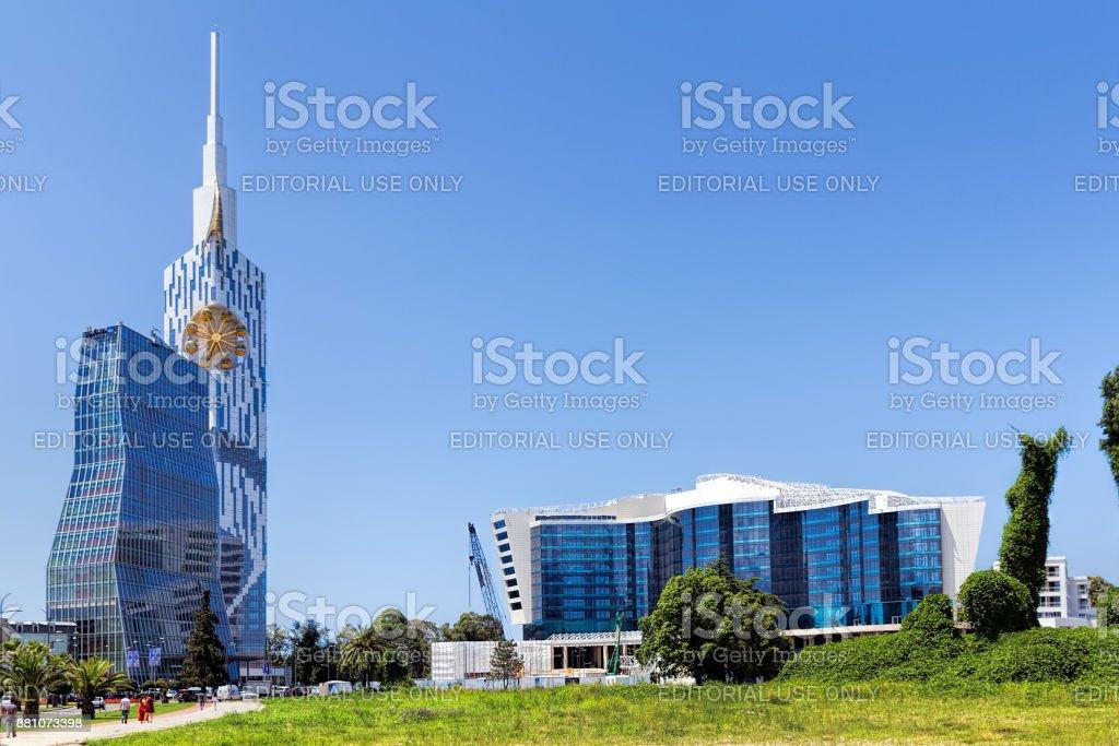 Batumi Technological University Tower and Grand Hotel Kempinski Batumi Black Sea stock photo