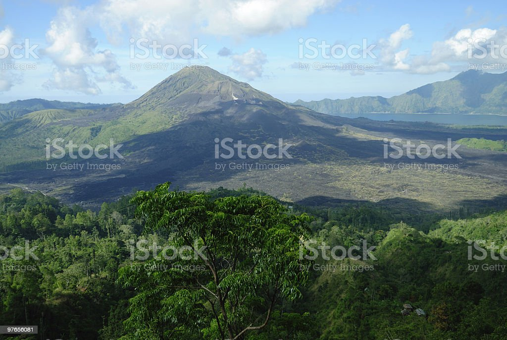 Batur volcano and crater lake royalty-free stock photo