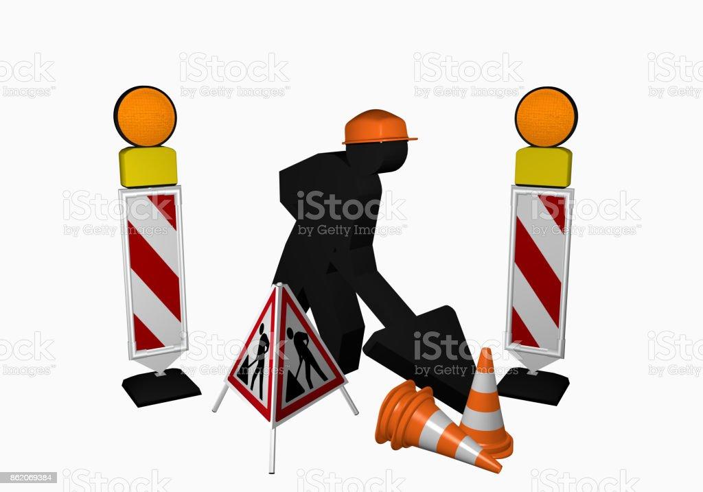 Bauarbeiter mit Leitbaken, Leitkegel und Aufsteller für eine Baustelle stock photo