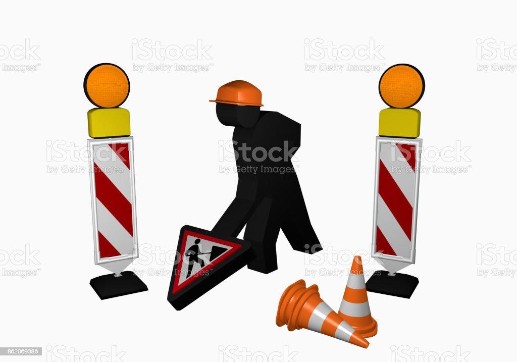 Bauarbeiter mit Leitbaken, Leitkegel und Baustellenschild stock photo