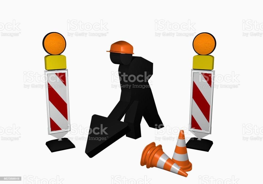 Bauarbeiter mit Leitbaken, Leitkegel und Warnlicht stock photo