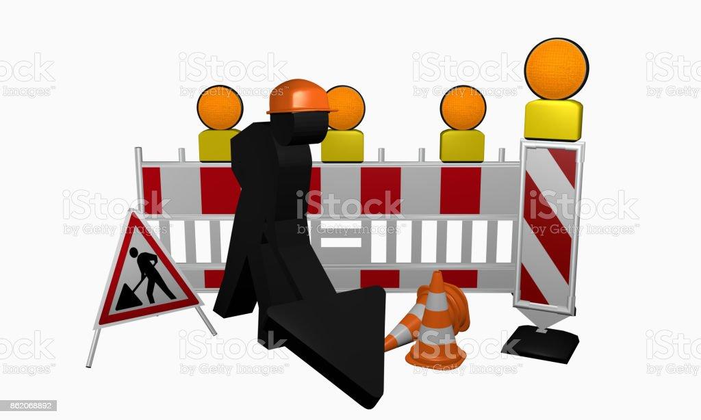 Bauarbeiter mit Leitbaken, Sicherheitsabsperrung, Warnlicht, Leitkegel und Aufsteller für eine Baustelle stock photo