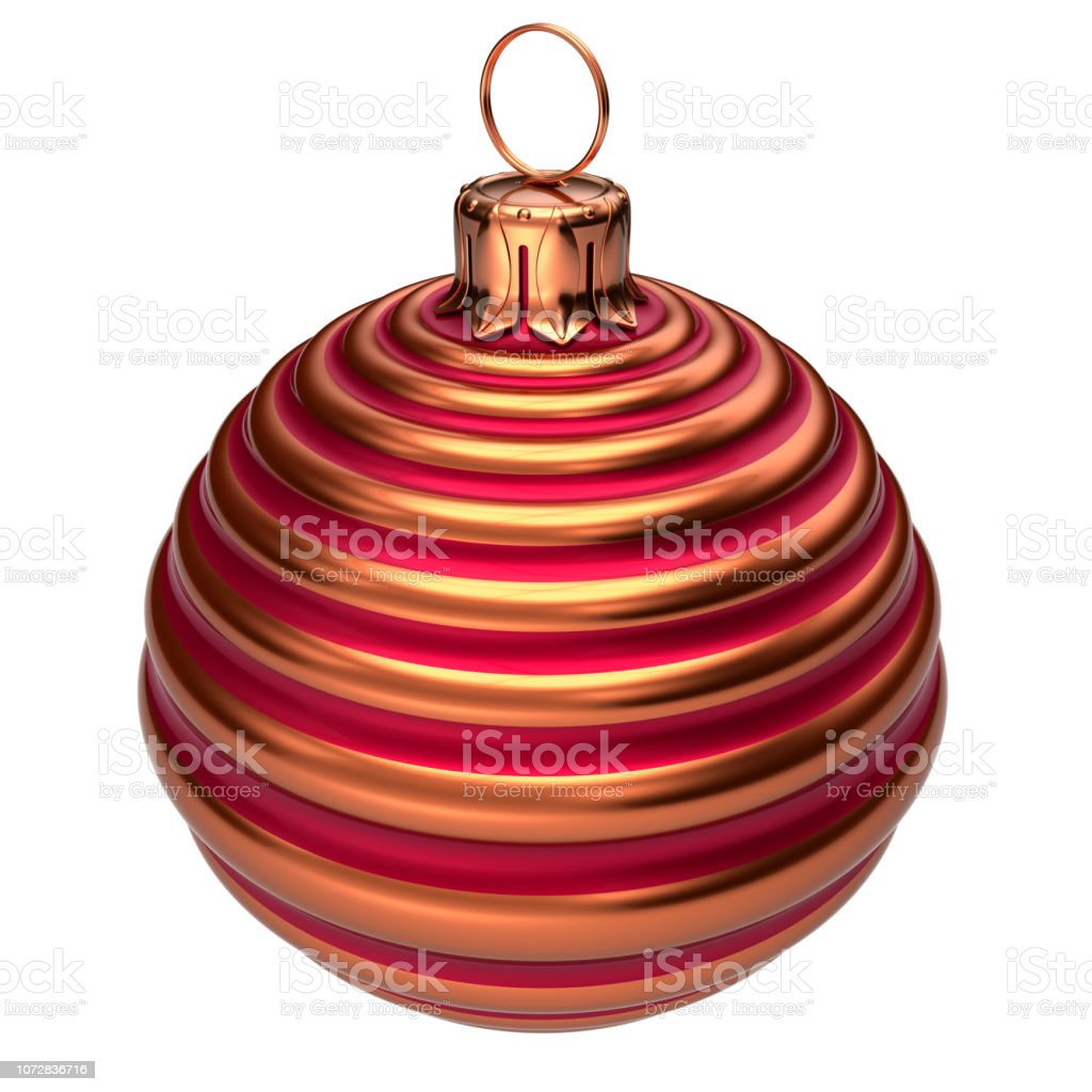 2020-2022 Christmas Tree Ideas Images Bauble Christmas Ball Decoration Closeup Red Striped Golden Stock