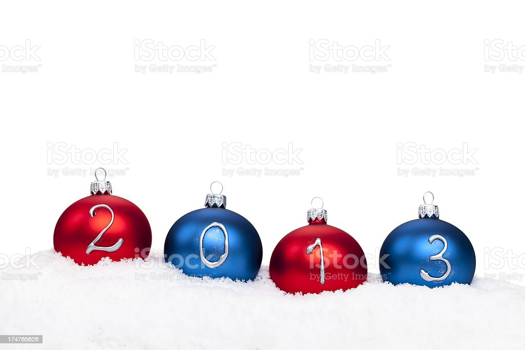 Baubles 2013 year on white royalty-free stock photo