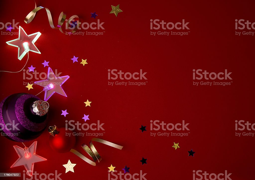 Baubles and Stars on Red royalty-free stock photo