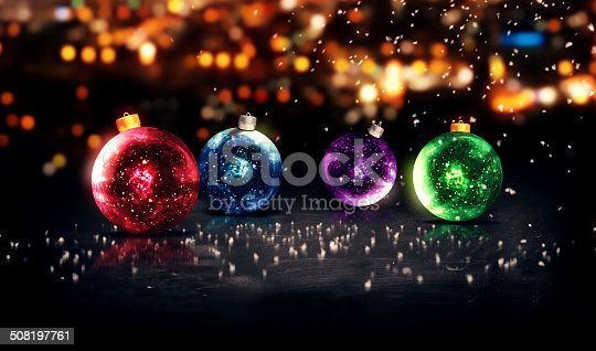 istock Baubles Christmas Night Bokeh Beautiful 3D Background Red Blue 508197761