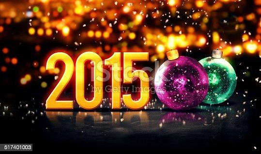 505891566 istock photo Baubles Gold 2015 Beautiful Bokeh Winter 3D 517401003